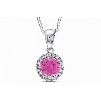 Affici Sterling Silver Pendant with Chain 18ct White Gold Plated ~ Pink Diamond Halo CZ Gem