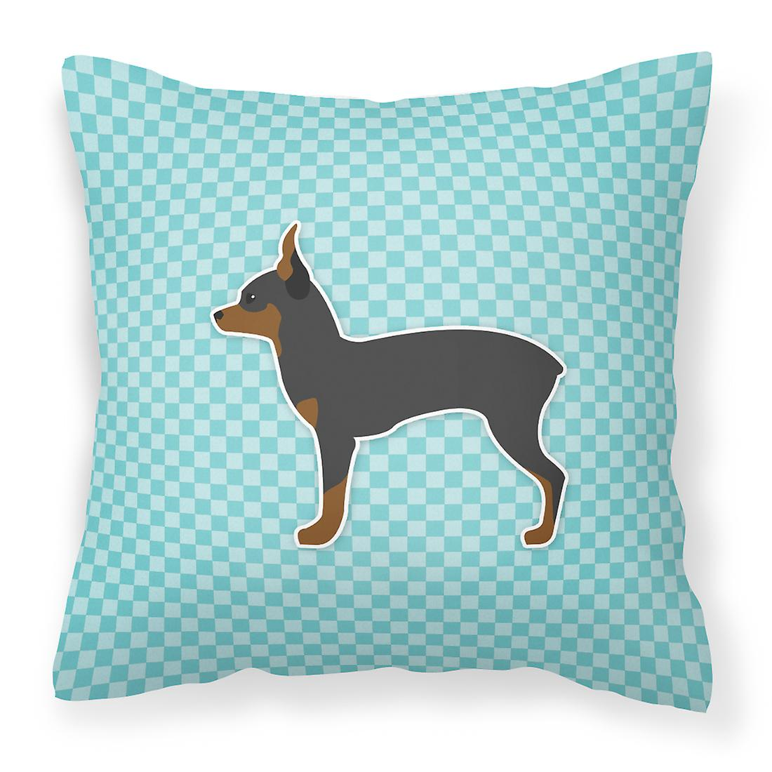 Tissu Fox Terrier Toy Damier Bleu Oreiller Décoratif OPknX80w