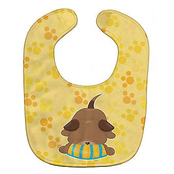 Carolines Treasures  BB7076BIB Puppy on Yellow Pawprints Baby Bib