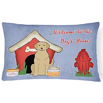 Dog House Collection Yellow Labrador Canvas Fabric Decorative Pillow
