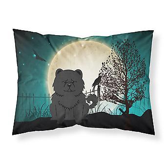 ハロウィーン怖いチャウチャウ黒ファブリックの標準的な枕