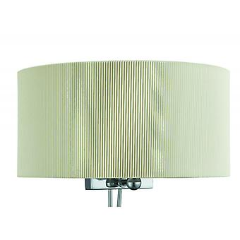 Drum Pleat Chrome Wall Light With Glass Diffuser And Cream Shade - Searchlight 3462-2cr