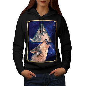 Воющий волк пространства животных женщин BlackHoodie | Wellcoda