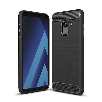 Samsung Galaxy A8 2018 TPU case carbon fiber optics brushed protective case black