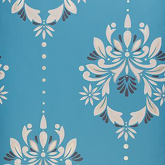 Dulux Flat Patterned Feature Wallpaper Roll - Blue & White - 30-736