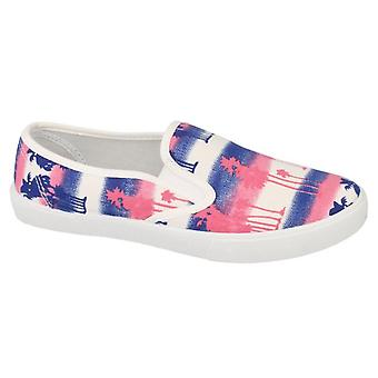 Ladies Womens Casual Slip On Summer Beach Walking Canvas Shoes