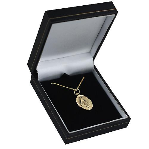 18ct Gold 20x16mm Miraculous Medallion Medal Pendant with a curb Chain 16 inches Only Suitable for Children