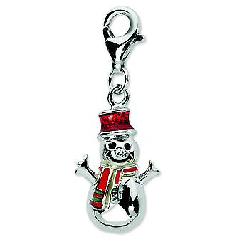 Sterling Silver Rhodium-plated Fancy Lobster Closure Enamel Snowman With Lobster Clasp Charm - Measures 29x11mm
