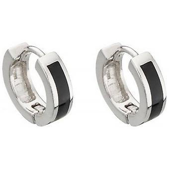 Beginnings Onyx Detail Huggy Hoop Earrings - Silver/Black