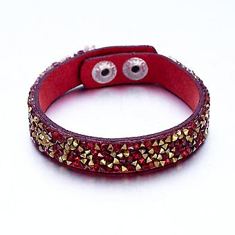 Crystals bracelet red and gold Swarovski Elements and leather Red