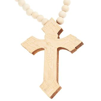 Wood style bead cross necklace - INRI beige