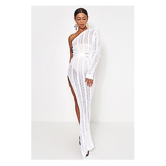 The Fashion Bible Tall Collection Shalini White One Shoulder Maxi Dress