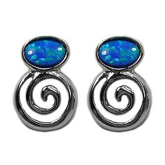 Sterling Silver Greek Spiral Key With Synthetic Opal Earrings, 10 x 14mm