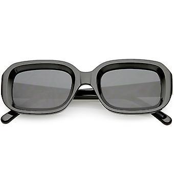 Chunky rektangel solglasögon neutralt färgad lins 50mm