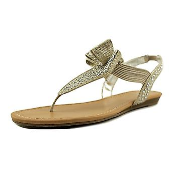 Material Girl MG35 Shayleen Rhinestone Bow T-Strap Sandals - Silver
