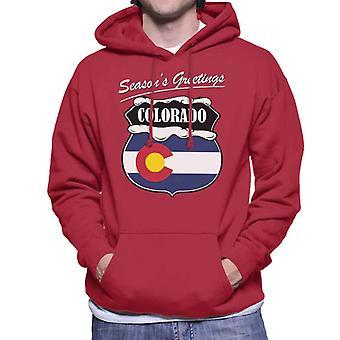 Seasons Greetings Colorado State Flag Weihnachten Herren Sweatshirt mit Kapuze