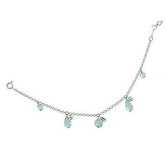 Fossil ladies silver cubic zirconia bracelet faceted glass stones JFS00091040