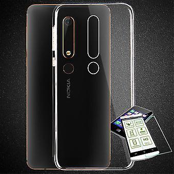 Silikoncase transparent + 0.3 H9 bulletproof glass for Nokia 6 2018 bag case cover