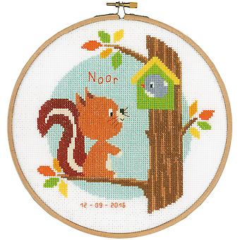 Squirrel In Tree Birth Record On Aida Counted Cross Stitch K-8