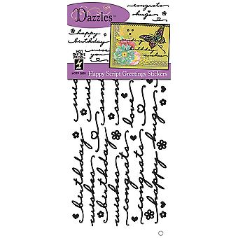 Dazzles Stickers-Happy Script Greetings, Black/Clear Foil