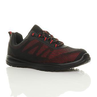 Ajvani Herre letvægts blonder op stål toe cap mellemsål sikkerhed undervisere sneakers sko arbejde støvler EN345-S1P