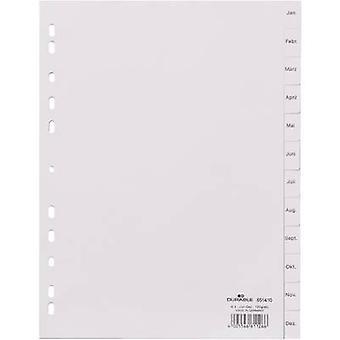 Durable Index 6514 A4 Jan-Dec Plastic Grey 12 dividers embossed tabs 651410