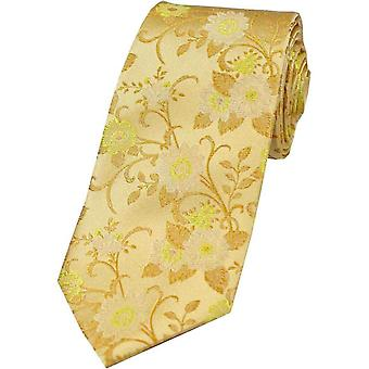 David Van Hagen Flower Silk Tie - Gold