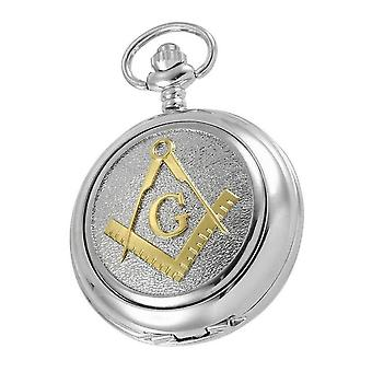 Woodford Masonic Albert Quartz Pocket Watch - Silver/Gold