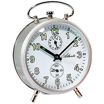 Atlanta 1063/19 mechanical alarm clock round silver mechanical