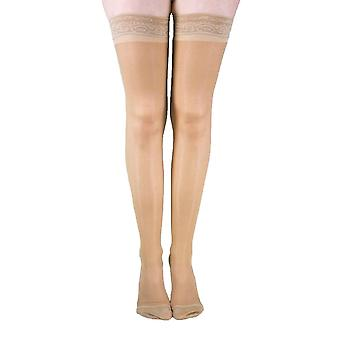 Pebble UK Sheer Compression Thigh Highs [Style P8] Black  XXL