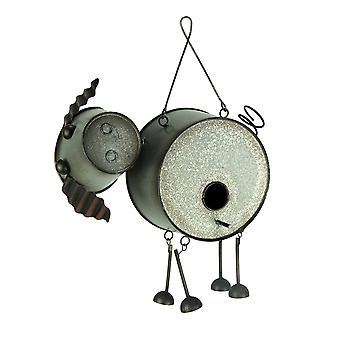 Adorable Farmhouse Style Metal Pig Birdhouse