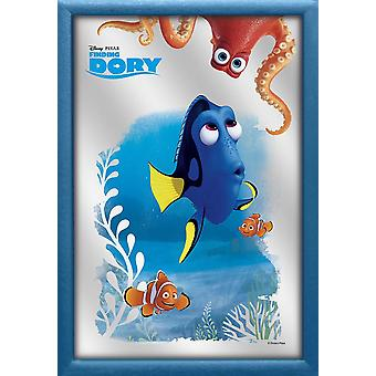 Finding dory casewrap wall mirror dory and friends, blue plastic framing, wood look.