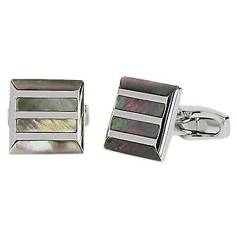 Simon Carter Stone Grille Mother of Pearl Cufflinks - Grey/Silver