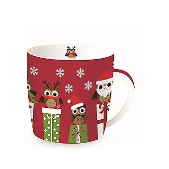 Stow Green Christmas Mug In A Tin, Owls on Parcels
