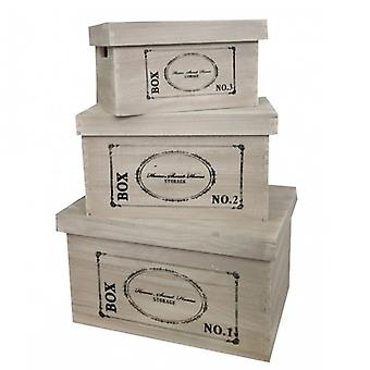 Set of 3 Wooden Storage Boxes-Printed Re4291-Style Industrial Furniture Rebecca