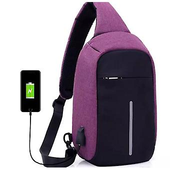 Anti-theft shoulder bag with USB charging-Purple