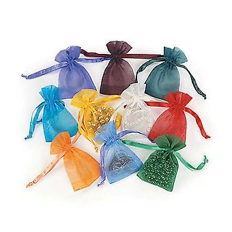 50 Assorted Mini Drawstring Organza Favour Gift Bags | Christmas Party Loot Bags
