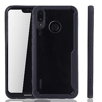 Prime de noir Huawei P20 Lite hybride edition couverture. Prend en charge la recharge sans fil | acrylique fine noir anneau silicone souple
