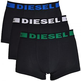 Diesel 3-Pack Boxer Trunk UMBX-Kory, Black With Green / White / Blue, Small