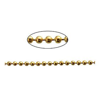 10m x Golden Plated Iron Alloy 1.5mm Closed Ball Chain CH2815