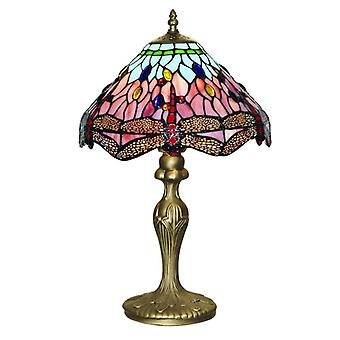 Dragonfly - 1lt Table Lamp, Antique Brass, Tiffany Glass