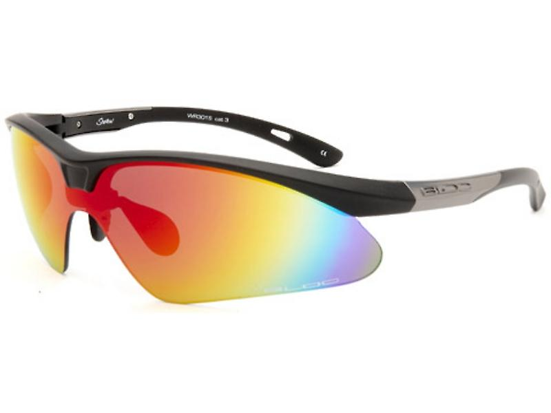 Bloc Eyewear Shadow Matt Black Silver Frame Sport Sunglasses (Red Mirror Cat 3 Lens)