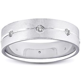 Mens Comfort Fit Lünette Diamanten 14K Band 6mm Herren Weißgold Ehering