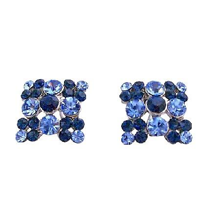 Light & Dark Sapphire Crystals Embedded Flower Fashion Earrings