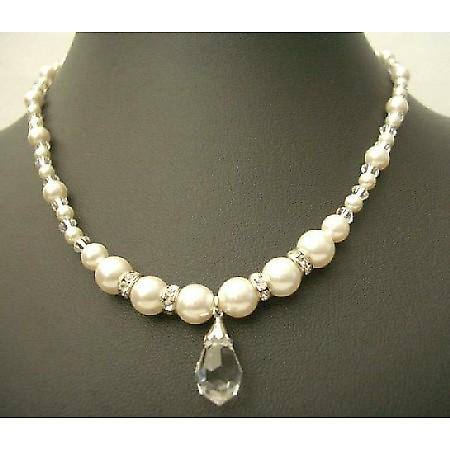 Swarovski Clear Crystals Cream Peal Silver Rondells Teardrop Necklace