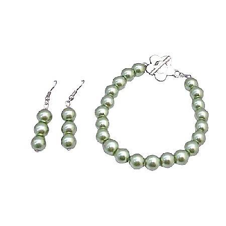 Light Green Pistachu Pearls Bracelet & Earrings Set w/ Flower Clasp