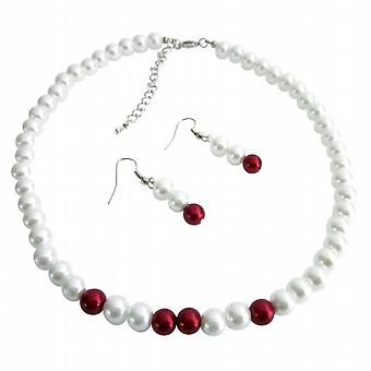 White & Red Pearls Necklace Earrings Set Wedding Flower Girl Jewelry