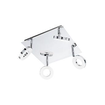 Eglo - Gonaro 4, banheiro luz LED teto montagem luz Spot em cromo polido e branco revestimento acrílico EG94763