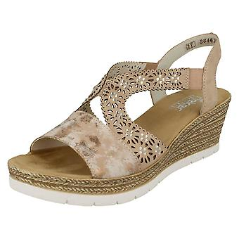 Ladies Rieker Wedge Heel Sandals 61916