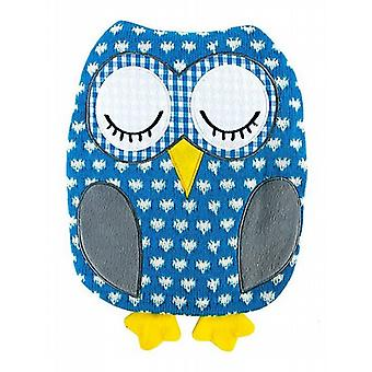 Cute Knitted Owl Microwavable Cushion: Blue